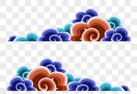 彩色剪纸祥云边框图片