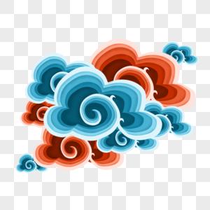 撞色剪纸中国风祥云图片