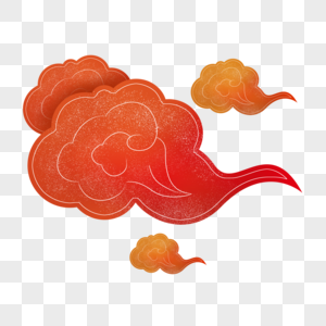 传统红色线描剪纸云纹图片