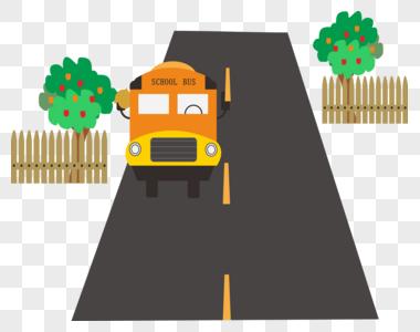 校车果树公路图片