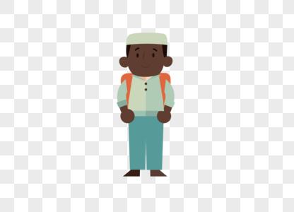 AI矢量图卡通外国黑人小学生图片