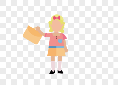 扁平化卡通外国黄色金发在校小学生图片