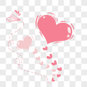 淡粉色手绘爱心气球图片