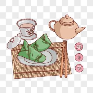 端午节粽子和茶图片