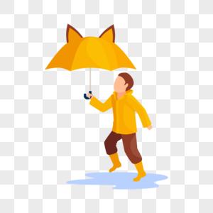 举伞的小男孩图片