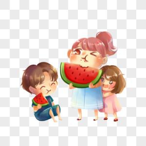 夏日孩子们吃西瓜图片