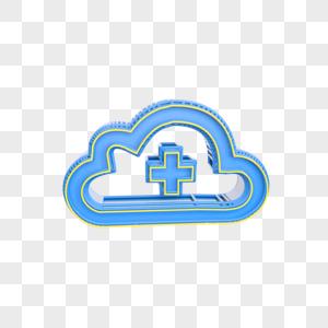蓝色云加图标插图图片