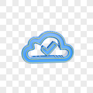 蓝色云立体图标插图图片