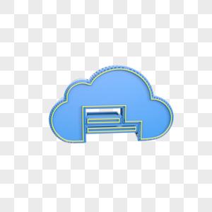 蓝色创意云图标插图图片