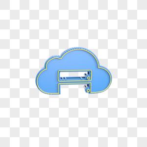 蓝色立体云图标图片