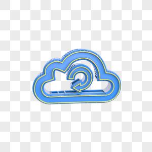 蓝色云旋转图标插图图片