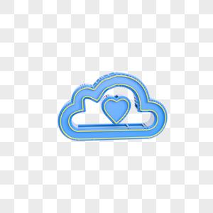 蓝色云爱心图标图片
