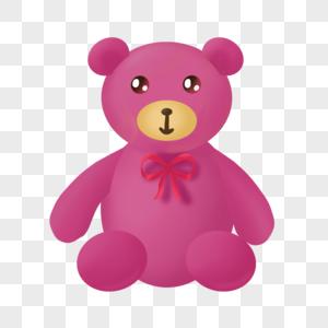 手绘卡通儿童节玫红玩偶熊图片