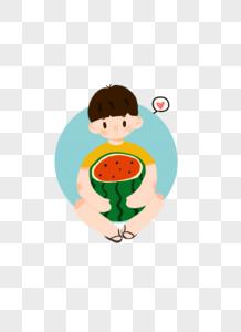 吃西瓜的小孩子图片