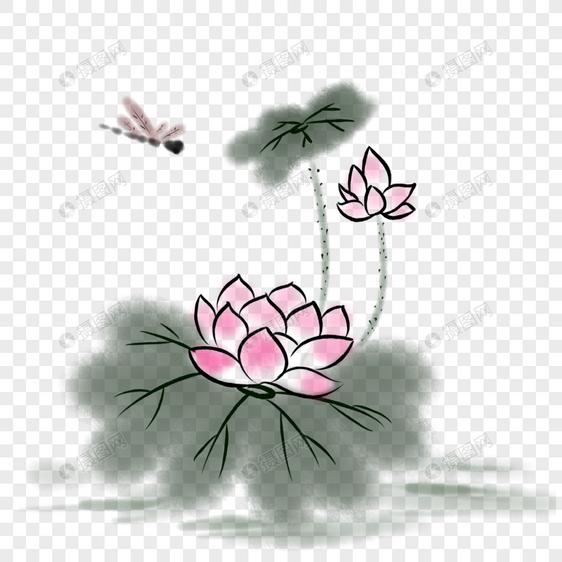写意中国风荷花图片