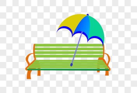 手绘户外休闲椅太阳伞图片