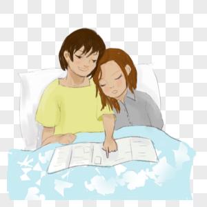 母亲节 母女 插画 睡前故事 温馨 小女孩图片