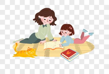 母亲节母女看书创意插画图片