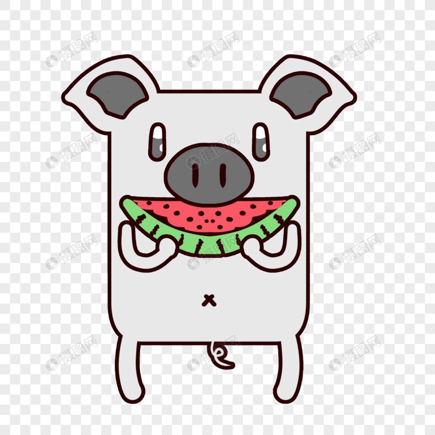 表情猪吃素材元素表情格式psd方块_v表情素好穷图西瓜包图片