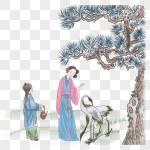 古代人物和仙鹤图片