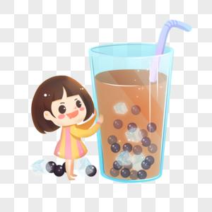 女孩和珍珠奶茶图片