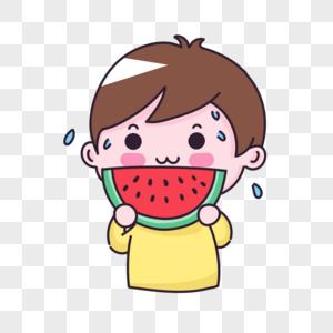 吃西瓜男孩图片