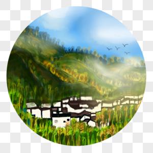中国风水彩水墨夏天山谷乡村林海图片