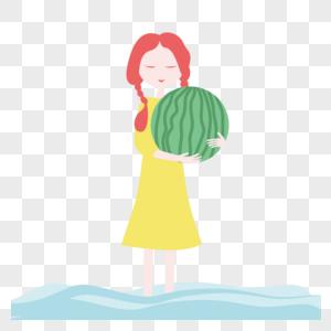 抱西瓜的女孩免抠素材图片