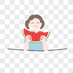 吃西瓜免抠素材图片