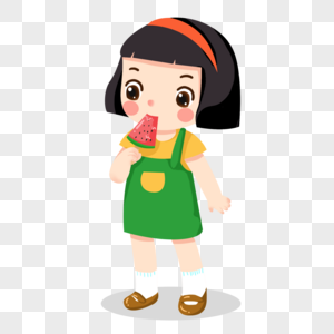 小朋友夏天吃西瓜冰棒图片