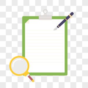 矢量扁平风格文件夹纸张钢笔放大镜图片