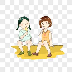 小女孩夏日吃雪糕炎热可爱卡通图片