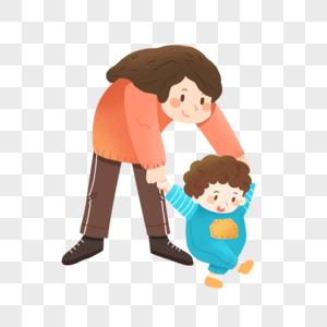 母亲节学走路的小婴儿和妈妈图片