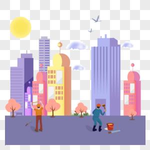 51劳动节建筑工人工作手绘插画图片