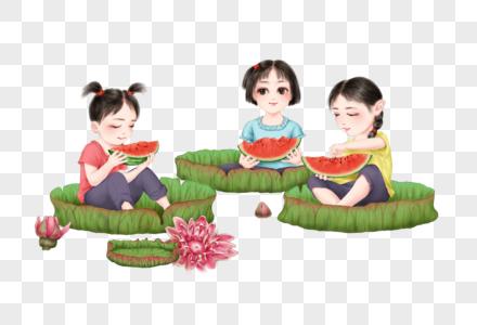 坐在荷叶上吃西瓜的小朋友图片
