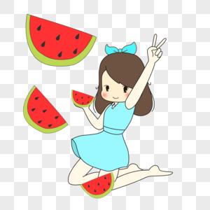 夏季卡通手绘吃西瓜的女孩图片