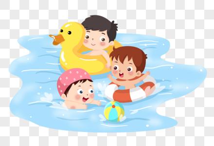 夏天小孩游泳嬉戏图片