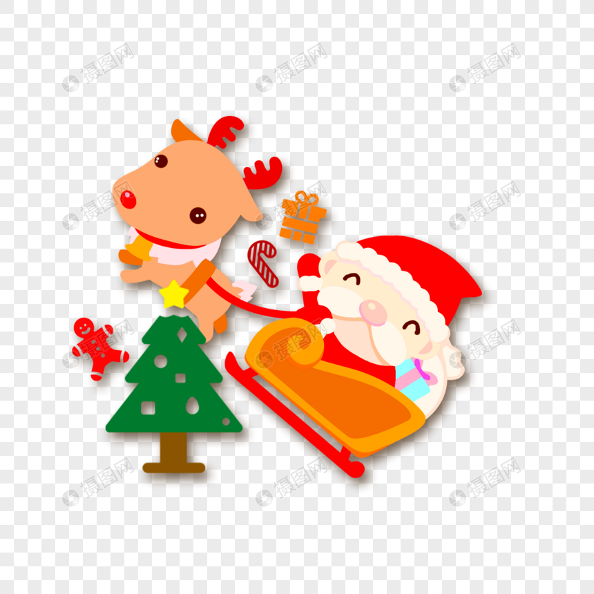 圣诞圣诞老人驯鹿礼物圣诞树噪点卡通扁平手绘插画透明png图片