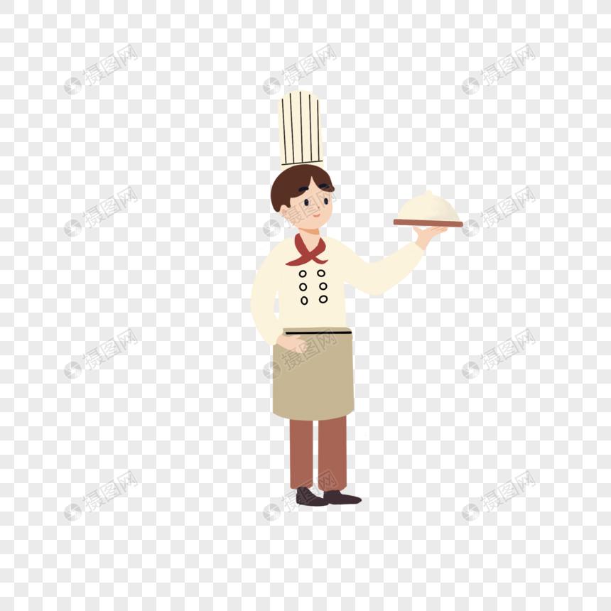 端盘子的厨师图片