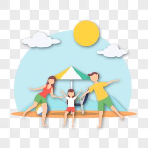 沙滩出游的一家人图片