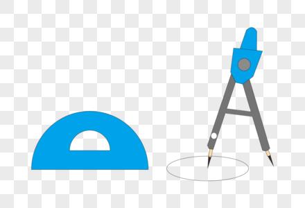 创意卡通学习用品圆规尺子矢量素材图片