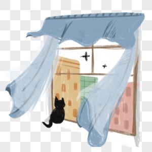 被风吹起的窗帘,窗台上坐着一只黑色的小猫图片