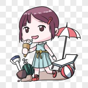 夏天吃雪糕的女孩图片