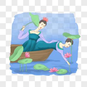 坐在船上赏荷花的女孩图片