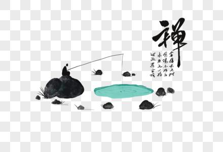 禅意中国风水墨画图片