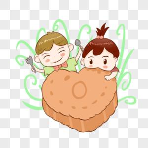 吃月饼的孩子图片