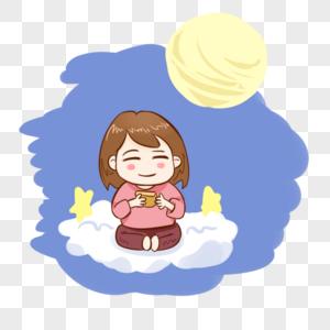 坐着吃月饼的女孩图片