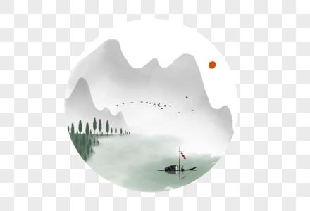 中国风水墨群山图片