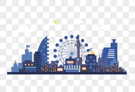 蓝色城市建筑插画图片