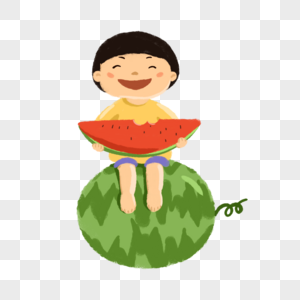 小朋友吃西瓜图片